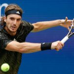 Sep 3, 2021; Flushing, NY, USA;  Stefanos Tsitsipas of Greece hits a shot against Carlos Alcaraz of Spain in a third round match on day five of the 2021 U.S. Open tennis tournament at USTA Billie Jean King National Tennis Center.    207065_0242  2021 ATP NPStrans sport tennis toppic us us open USA USA TODAY Sports WTA